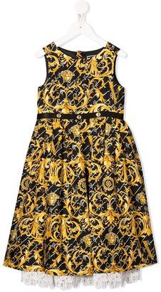 Versace Lace-Hem Baroque-Print Sleeveless Dress