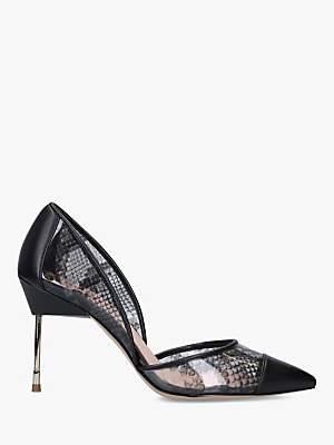 Kurt Geiger London Bond 90 Snakeskin High Heel Court Shoes, Grey