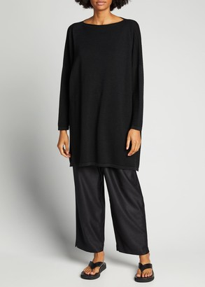 eskandar Boxy Bateau-Neck Long-Sleeve Top