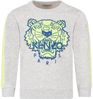Kenzo Grey Boy Sweatshirt With Iconic Tiger
