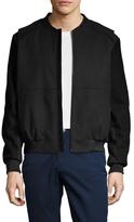 Elie Tahari Waterproof Wool Leather Trim Varsity Jacket