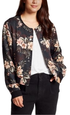William Rast Floral-Print Button-Down Bomber Jacket