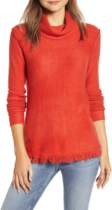 BeachLunchLounge Fringe Finish Cowl Neck Sweater