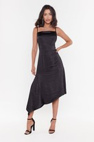 Nasty Gal Womens It'S All Satin-Ing Aysmmetric Midi Dress - Black - 6, Black