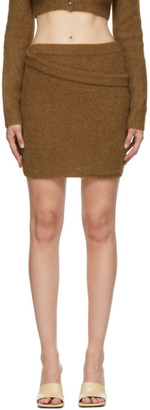 Helmut Lang Tan Alpaca Double Waistband Skirt
