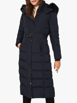Phase Eight Mabel Long Puffer Coat, Navy
