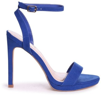 Linzi HIGHER LOVE - Cobalt Blue Suede Open Back Barely There Stiletto Sandal