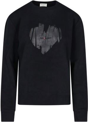 Saint Laurent Front Print Crew-neck Sweater