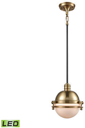 Riley 1 Light Pendant in Satin Brass and Oil Rubbed Bronze