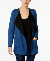 Alfani Petite Colorblocked Open-Front Cardigan, Only at Macy's