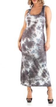 24seven Comfort Apparel Women's Plus Size Sleeveless Tie Dye Racerback Maxi Dress