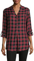 Lord & Taylor Petite Plaid Button-Up Top