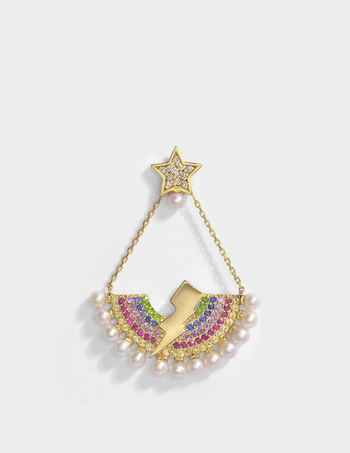Anton Heunis Rainbow Lighting Bulb Mono Earring in 14K Gold and Precious Stones