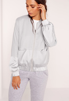 Missguided Two Tone Satin Bomber Jacket Grey