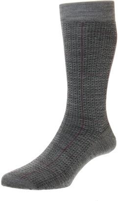 Pantherella Men's Welbeck Windowpane Spiral Wool-Blend Socks