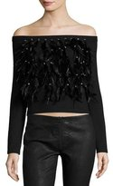 Haute Hippie Cropped Feather Fringe Off-the-Shoulder Sweater, Black