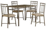Monarch Five-Piece Cappuccino Marble and Bronze Metal Dining Set