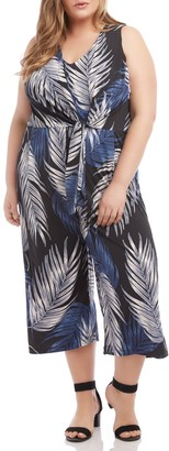 Karen Kane Palm Print Tie Front Wide Leg Crop Jumpsuit (Plus Size)