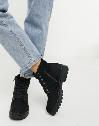 New Look suedette lace up ankle boot in black