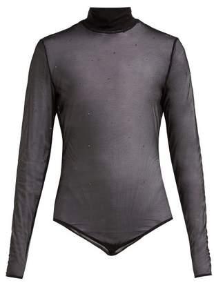 Wolford Crystal Affair High Neck Sheer Bodysuit - Womens - Black