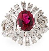 Vianna Brasil Rubelite & Diamond Ring in 18K White Gold