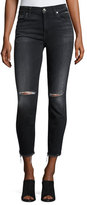 7 For All Mankind High-Waist Ankle Distressed Skinny Jeans, Black