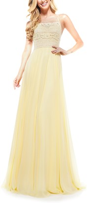 Lace Strappy Back Chiffon Gown