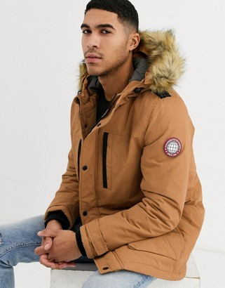 Burton Menswear parka coat in tan-Brown