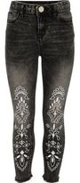 River Island Girls black Amelie embroidered jeans