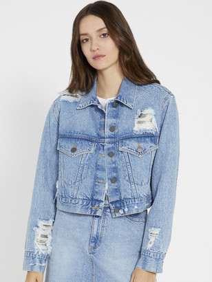 Alice + Olivia Cropped Chainmail Jean Jacket