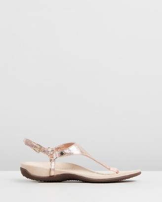 Vionic Women's Gold Flat Sandals - Kirra Backstrap Sandals - Size One Size, 5 at The Iconic