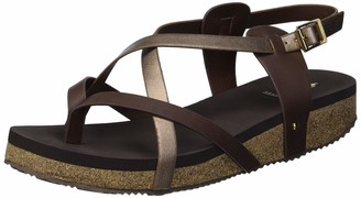 Volatile Women's 7 Point Thong with Ankle Strap Wedge Sandal