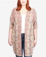 Lucky Brand Trendy Plus Size Geo-Print Cardigan