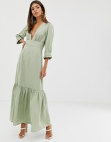 Asos Design DESIGN plunge tea maxi dress with pep hem