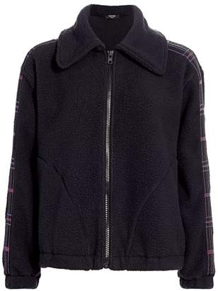 Terez Plaid-Detailed Fleece Jacket