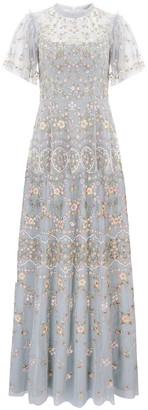 Needle & Thread Sweet Petal Blue Embroidered Tulle Gown