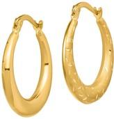 14K Graduated Satin & Diamond-Cut Hoop Earrings