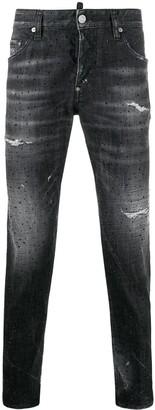 DSQUARED2 Crystal-Embellished Distressed Skinny Jeans
