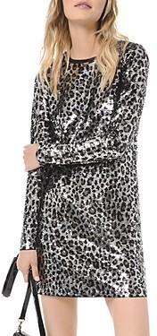 MICHAEL Michael Kors Sequined Leopard Long-Sleeve Mini Dress