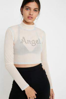 Urban Outfitters Angel Diamante Mesh Funnel Neck Top - beige S at