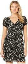 MICHAEL Michael Kors Tossed Lilies V-Neck Dress (Black/Evergreen) Women's Dress