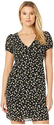 MICHAEL Michael Kors Tossed Lilies V-Neck Dress (Black/Evergreen) Women's Dress