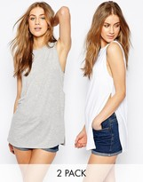 Asos The Sleeveless Tunic With Side Split 2 Pack