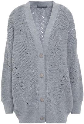 Alberta Ferretti Pointelle-trimmed Ribbed Wool Cardigan