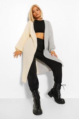 boohoo Petite Chunky Knit Spliced Maxi Cardigan