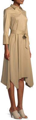 Lafayette 148 New York Moxie 3/4-Sleeve Handkerchief-Hem Dress