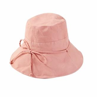 XINCHENYU Women Sun Hat Summer Foldable Wide Brim Cotton Bucket Hat Ladies Floppy Beach Hat (A Pink)