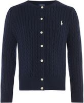 Polo Ralph Lauren Girls Small Pony Cable Knit Cardigan