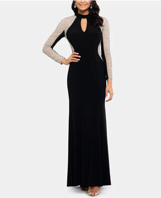 Xscape Evenings Embellished Mock-Neck Illusion Gown