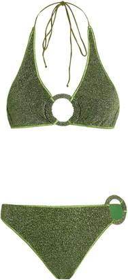 Oseree Embellished Stretch-Lurex Bikini Set